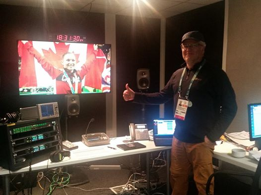 Doug McClement in the Audio Production Quality Control Room of the International Broadcast Centre for Olympic Broadcast Systems.